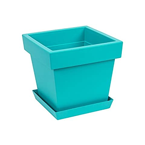 Original Lofly Square Low turquoise flowerpot with saucer, 22.5 cm of height