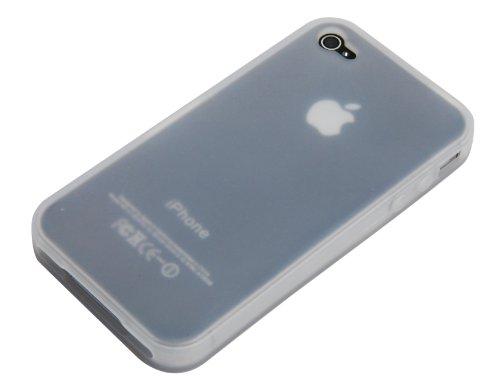 Neues Modell - Silikon Hülle Schutzhülle Rückschale Diamant-Case Cover für Apple iPhone 4 / 4S /4G - Orange Ebene - Durchsichtig