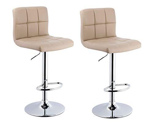 Barhocker 2x Barstuhl Kunstleder CAPPUCCINO, Drehstuhl, Tresenhocker (Typ 9-451Y) Bar Sessel, gut gepolstert, Bodenschoner, mit verchromten Griff, höhenverstellbar, gut gepolstert mit Lehne, eckig - Cappuccino-bar Set