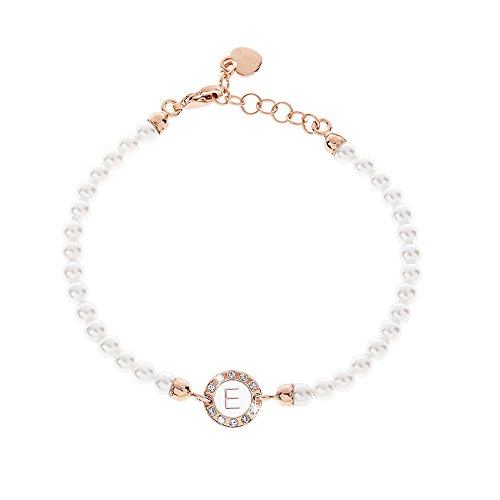 DVCCIO Grace Collection Bracciale Perle Rose` Lettera a Correre su Smalto Bianco A