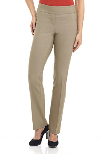 Rekucci Damen Seien Sie in Komfort bekleidet schlanke Stretch-Hose mit Bauchsteuerun (10,Hafer)
