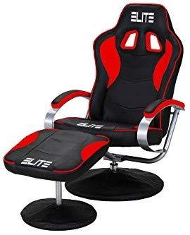 ELITE Deluxe Gaming Sessel MG-300 - Bürostuhl - Gamingstuhl - Streamingstuhl - Drehstuhl - Ergonomisch - Racingoptik - Fußhocker - Chefsessel - Racing (Schwarz/Rot)