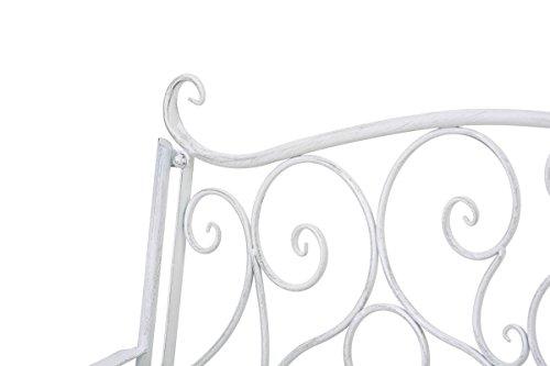 klassische Metallgartenbank in antik Weiß, eine romantische Ruhebank für den Park im Landhausstil mit Nostalgie Elementen für 2 Personen – pflegeleichte Sitzbank aus Eisen B106cm - 4
