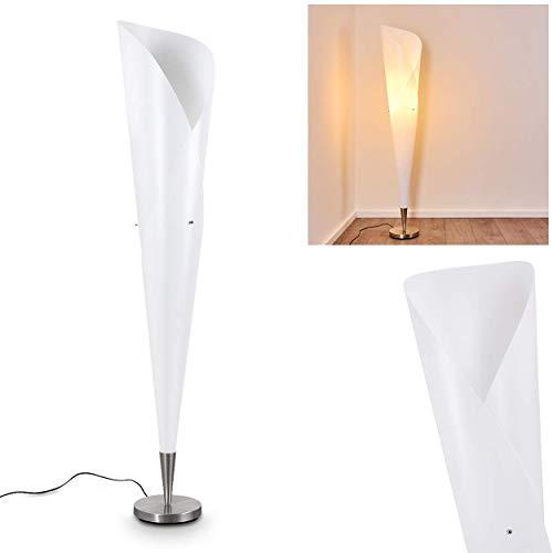 Lámpara de pie Mungia en plástico blanco - salón comedor - llamativa lámpara de pie con pantalla alargada entrelazada