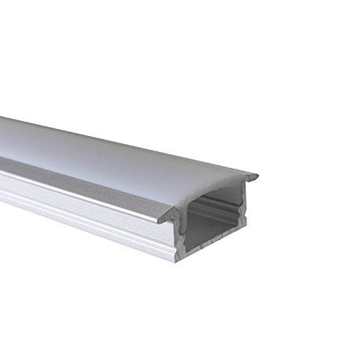 OPAL - 200 cm LED Aluminium Leisten EINBAU-KL + 200 cm weiß milchige Abdeckung für LED-Streifen von Alumino® -