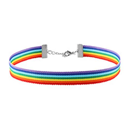 Outtybrave Einfache Regenbogen Halsband Halskette Gay Pride LGBT Band Clavicle Kette Schmuck Nylon Halsband (Halskette Gay Pride)
