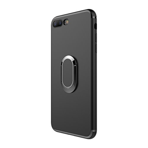 """MOONCASE iPhone 7 Plus Hülle, Anti-Scratch Stoßfest Schutz Handyhalterung Autohalterung tasche Ultra Slim Flexibel TPU Armor Defender Case für iPhone 7 Plus 5.5"""" Schwarz Schwarz"""