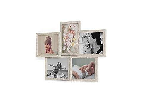 Fotogalerie für 5 Fotos 13x18 cm - 3D 503 Optik - Bilderrahmen Bildergalerie Fotocollage Rahmenfarbe Altes