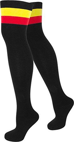 verknees in verschiedenen Designs / Baumwolle mit Elasthan in verschiedenen Farben zur Auswahl Farbe Schwarz mit Colorbund Größe Onesize (Mädchen-fußball-kostüme)