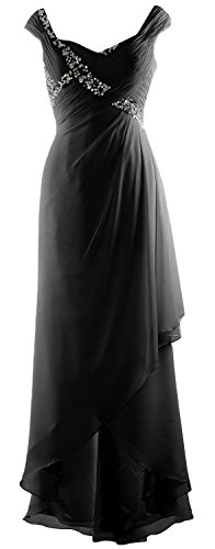 MACloth Elegant V Neck High Low Mother of Bride Dress Maxi Chiffon Formal Gown Black