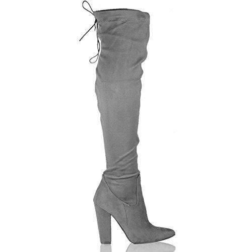Shoesdays Damen über dem Knie, Schwarz - Grau - Größe: 42 (Stiefel Sexy Over-knie)