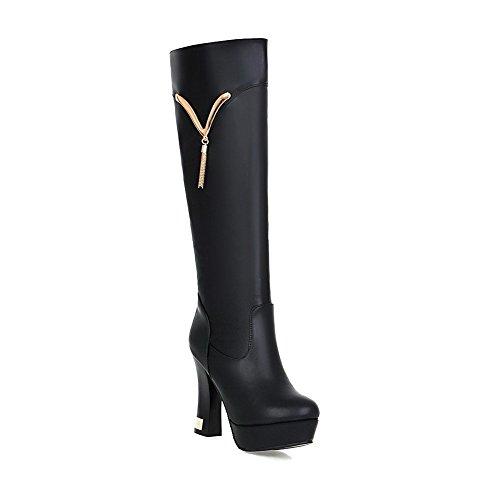 AgooLar Damen Hoher Absatz Weiches Material Eingelegt Reißverschluss Stiefel Schwarz