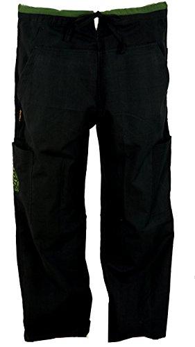 Guru-Shop Yogahose, Goa Hose mit Stickerei, Herren, Schwarz, Baumwolle, Size:XL (52), Männerhosen Alternative Bekleidung