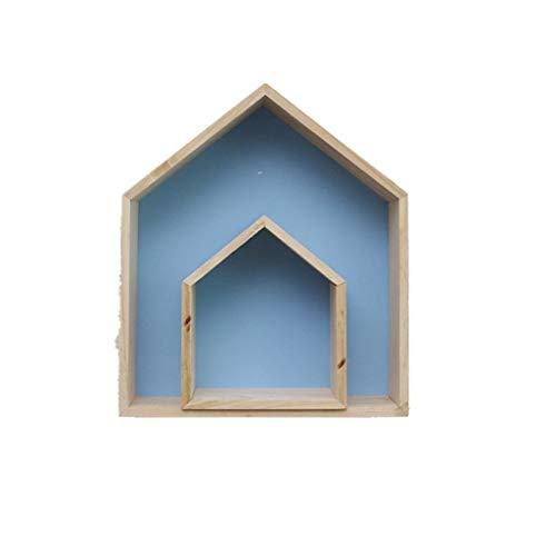 VNEIRW_HOME Großes Haus + Kleines Haus Wooden House Shelf Display Units Einzigartige Home Hanging Zweiteiliger Anzug in Hausregalgröße für Kinderzimmer (Blau)