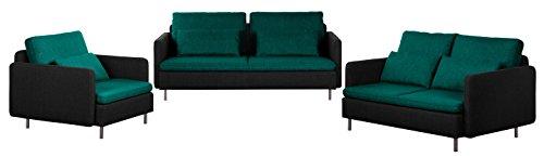Cavadore Sofa-Garnitur Scrubbles, 3-Sitzer, 2-Sitzer und Sessel im Material-Mix, 3er-Couch: 196 x 73 x 98 cm, 2er-Sofa: 156 x 73 x 98 cm, Sessel: 106 x 73 x 98 cm (BxHxT), Türkis, schwarz