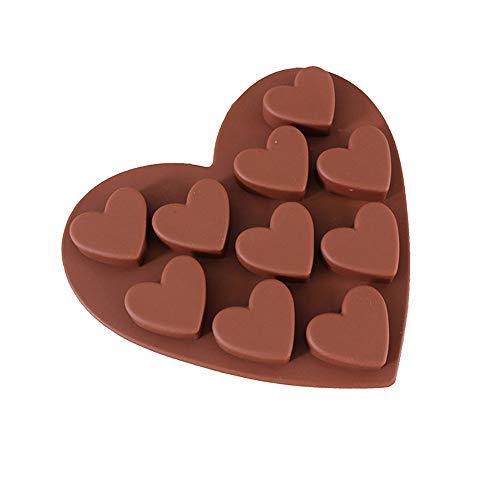 VICKY-HOHO Liebe herzförmige Silikonformen Fondant Cake Schokoladenform (Kaffee)