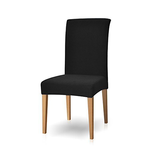 Subrtex Stretch Dining Chair Covers Elastic High Back Dining Room Chair Cover, Machine Washable Anti-Slip Parson Chair Protector for Party (Set of 4, Black) - Back Dining Chair Set