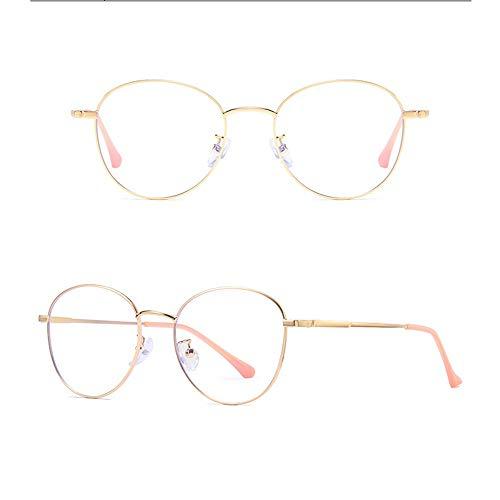 Yiph-Sunglass Sonnenbrillen Mode Runde Metallrahmen-Agio-Computer-Lesebrille Blau Swooning und Blendung Keine Vergrößerung Brille Anti-Eyestrain-Gläser für Männer und Frauen (Farbe : Gloden)