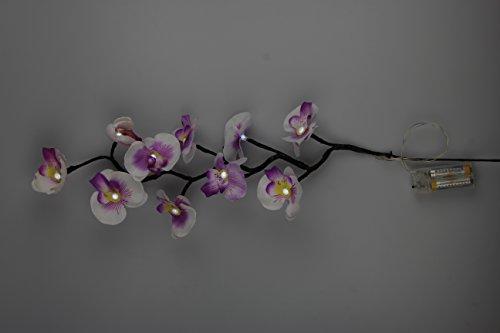 Zauberhafter XXL - LED Orchideenzweig - dekorative Beleuchtung mit 10 LED´s - 66 cm lang - warm weißes Licht - hochwertig - schöne Geschenk Idee (weiß-lila)