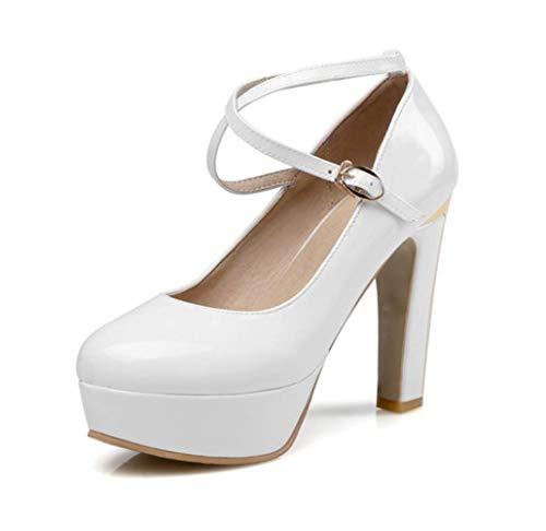 Moojm Hochzeitsschuhe, Brautschuhe, Brautjungfer Schuhe Runde zu 11 cm High Heels Buckle Stiletto Heels,White,38EU