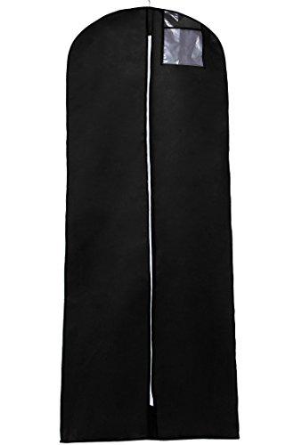 TUKA-i-AKUT Atmungsaktiver Kleidersack 180cm x 64cm, breite Seitenfalte, Schutzhülle für Brautkleider/Abendkleider/Anzüge/Mäntel, Langer Reissverschluss, Zubehörteile Tasche, Schwarz TKB1003 - Reifrock Tasche