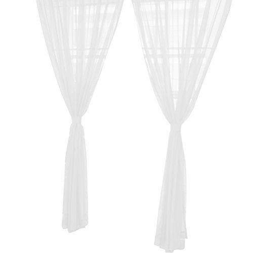 VORCOOL Transparente Voile Vorhänge Gardine Schal Dekoschal für Schlafzimmer Wohnzimmer Blumen Druck 100x200 cm (Weiß)