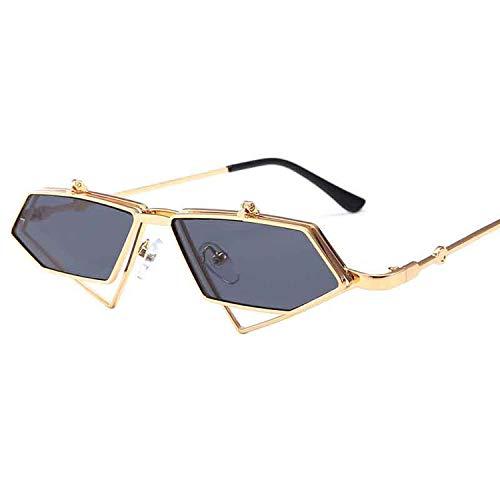 Mode Flip-Cover Sonnenbrille Männer Frauen New Unregelmäßige Metall Klein Sonnenbrillen Brillen, 7