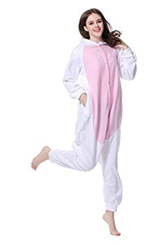 LINGJUN Adulte Unisexe Lapin Anime Costume Cosplay Combinaison Pyjama Outfit Vêtements de Nuit Onesies Fleece Halloween Costume Déguisement de Soirée