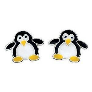 Argento 925orecchini pinguino, scatola regalo S37