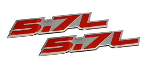 2 X 5.7L Liter in RED on SILVER Highly Polished Aluminum Car Truck Engine Swap Nameplate Badge Logo Emblems (pair/set of 2) for Toyota Tundra Sequoia V8 Chevy 350 Tahoe Suburban 1500 Camaro Impala Caprice SS Corvette Z06 LS1 LS6 Dodge Challenger Charger Magnum RT HEMI Ram Durango Cadillac CTS-V CTS Chrysler 300 C300 Pontiac GTO Trans Am LT1 GMC Sierra Yukon XL Pick Up