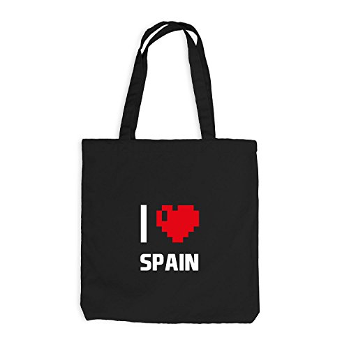 Jutebeutel - I Love Spain - Spanien Reisen Herz Heart Pixel Schwarz