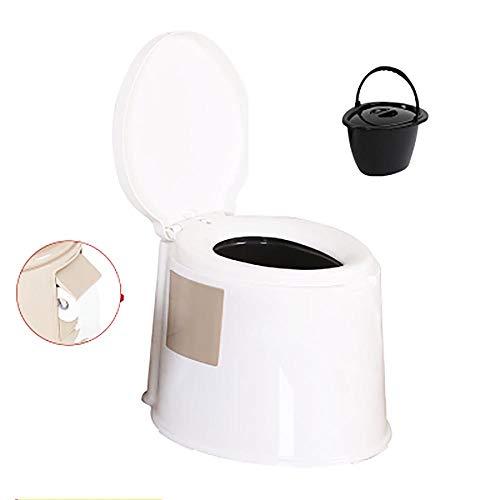 XIHAA Mobile Toilette Anti-Rutsch-Schwangere Frauen Toilette ältere tragbare geduldige Erwachsene Kommode, ältere Schwangere Frauen bewegliche Erwachsene Haushalts-tragbare Kommode,WhiteA