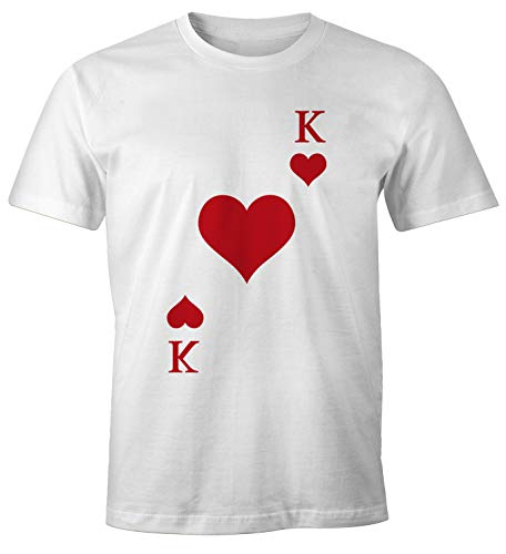 -Shirt Kartenspiel Kostüm Spielkarten Gruppenkostüm Karten Fasching Karneval Faschingsshirt Herz König weiß L ()