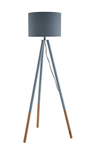 SalesFever Stehlampe, Stehleuchte, Metall- + Holzbeine in grau-braun, Lampenschirm in Grau, Polyester, robuster Stoff, Holz, Metall, Wohnzimmerlampe, Druckschalter, 42 x 29 x 153 cm