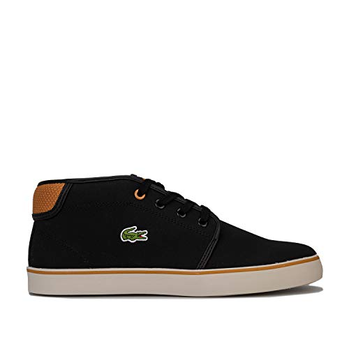 Lacoste Junior Boys Ampthill Mid Trainers in Black- Lace Fastening- Cushioned