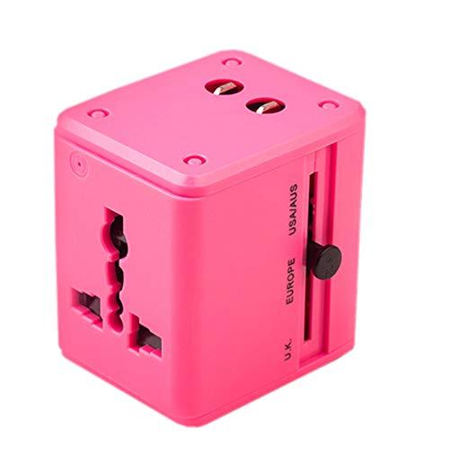 GYLFDC Universal-Reiseadapter, Dual-USB-Umwandlungsstecker, Multifunktions-Reisestecker, Universal-Smart-Plug-Konverter-Steckdose für USA AUS UK Europe,Pink