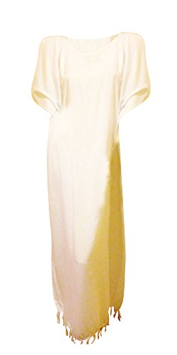 Coole Kaftane PLAIN Kaftan Kaftan Kleid Robe XXL Free Size Plus-Lush Ladies Beach Fringes Quasten Coole Kaftane (White weiß) (Fringe Kleid Plus Größe)