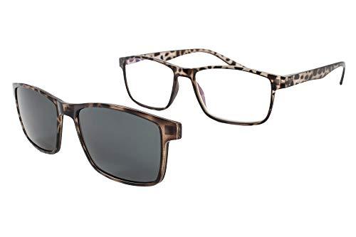 b20bfe61168 PACK 2 Gafas de lectura con imán para sol - Gafas de presbicia - Vista  cansada graduadas - Unisex - Mujer - Hombre - 6016 (C4-2, 2.00 Dioptrías)