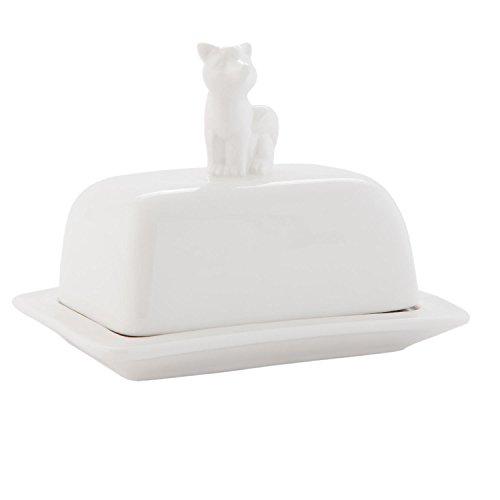 Clayre & Eef 6CE0413 Boîte à beurre avec chat en guise de manche Blanc env. 11 x 10 x 16 cm