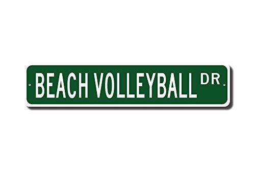 qidushop Beachvolleyball Beachvolleyball Geschenk Strand Volleyball Schild Strand Volleyball Spieler Straßenschild Metall Wandkunst Weihnachten lustige Geschenke für Frauen