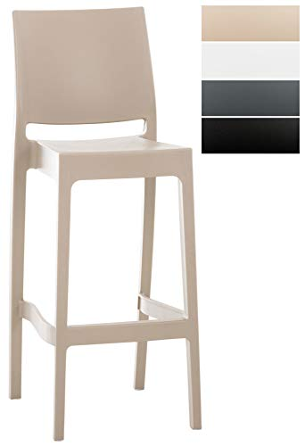 Clp sgabello da bar maya impilabile in polipropilene - sgabello outdoor con schienale i sgabello alto da bancone, alt. seduta 75 cm i sedia sgabello 4 gambe, in plastica con poggiapiedi fango