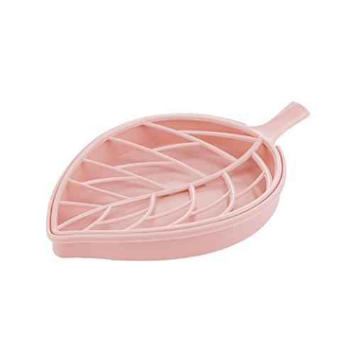 Sensail Porte-savon, Forme de la feuille boîte à savon de la salle de bain (rose)