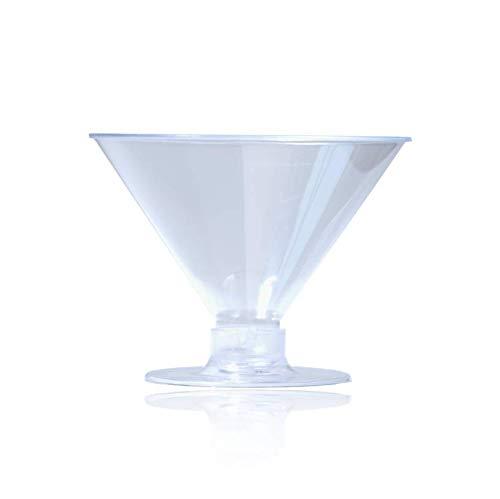 Einweg-Champagnergläser, Kunststoff, hochwertig, kristallklar, glatter Rand, 2 Stück Flötenboden, wiederverwendbar, für Hochzeiten, Abschlussfeiern, Partys, Picknicks, 250 Stück Martini 10 farblos