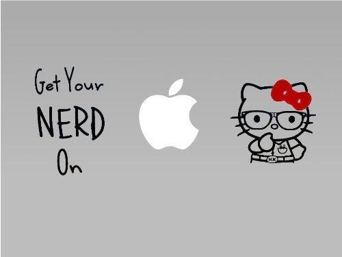 Hello Kitty Nerd - Vinyl Macbook / Laptop Decal Sticker Graphic by The Custom Vinyl (Hello Nerd Kitty)