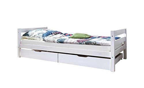Ticaa Einzelbett Mario Kiefer Weiß inkl. Schubkasten - Home Eleganz Lattenrost