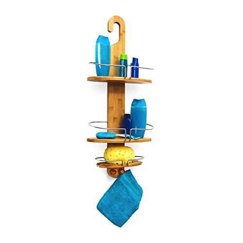 Relaxdays Duschregal aus Bambus zum Einhängen HxBxT: ca. 71 x 29,5 x 13,5cm Badregal mit 3 Ablagen und 2 Haken aus feuchtigkeitsresistentem Holz Hängeregal für die Dusche praktische Duschablage, natur