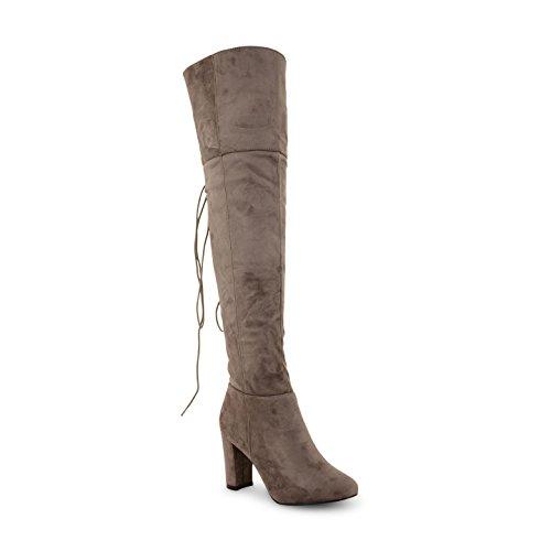 NEU Damen Schn眉rstiefel Winter High Heel Plattform Knie High Long Stiefel Schuhe Grau (Veloursleder)