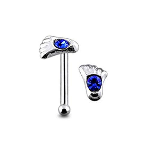 Dunkel blau Crystal Stein Top 22 Gauge 925 Sterling Silber Nase Knochen Stud Piercing Fuß