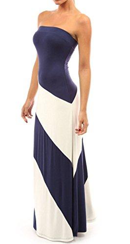 SHUNLIU Super Damen Streife Maxikleider bandeau Kleider Strandkleider ärmellos Trägerlos Sommerkleider Navy Blau
