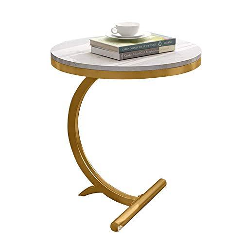 Laptopständer DD Beistelltisch, Kleiner Couchtisch Auf Dem Balkon, Marmortisch Beistelltisch, Büro Kleiner Runder Tisch -Werkbank (Farbe : Weiß) (Kleines Beistelltisch Büro)